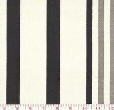 P Kaufmann Hugo Ebony Indoor Outdoor B&W Stripe Print Upholstery Fabric BTY