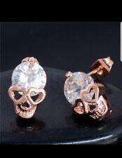 *UK Seller* Gold tone crystal skull stud earrings