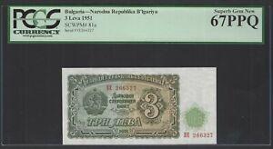 Bulgaria 3 Leva 1951 P81a Uncirculated Graded 67