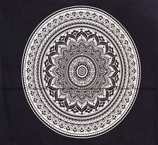 Indian Black Ombre Mandala Tapestry Cotton Wall Hanging Bohemian Bedspread Throw