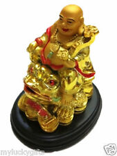 Feng Shui Lauging happy money buddha holds a Ru Yi sitting on a Money Frog Toad