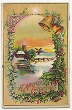 """A Merry Christmas"" Snow Scene, Bells, Star, Windmill Antique Christmas Postcard"