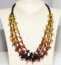 Genuine Baltic Amber Adult 5-Line Necklace Rainbow Color Knotted Women Jewelry