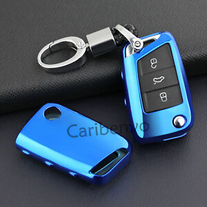 Car Key Aurora Blue Keychain Holder For Volkswagen Polo Golf e-Golf MK7 Tiguan