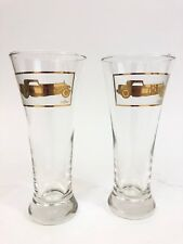 CERA Mid Century Gold Antique AUTOMOBILE CAR Beer Drinking Glasses  - EXCELLENT