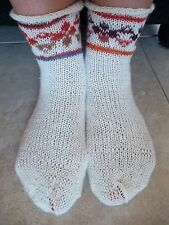 Hand knitted wool blend socks with Latvian design, white