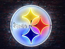 "New Pittsburgh Steelers Neon Sign 24""x24"" HD Vivid Printing Technology"