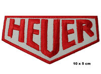 HEUER Motorsports White & Red Logo Racing Iron/ Sew-on Embroidered Patch Badge