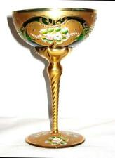 Vintage Venetian Murano Glass Handpainted Gold Emerald Footed Dish 3-D Flowers