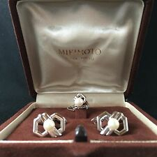 Mikimoto Akoya Pearl Cufflinks & Tie Clasp Original Box Authentic Japan GIFT