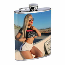Rock & Roll Pin Up Girls D2 Flask 8oz Stainless Steel Hip Drinking Whiskey