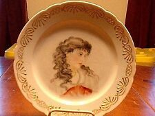 Antique Leonard Vienna Austria Hand Painted & Enameled Plate Of a Woman ASGD