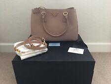 PRADA Cameo Blush Saffiano Lux Leather Medium Single Zip Tote Bag BN1874