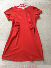 Simply Be Plus Size 22 24 Dark Red Jersey Ruched DRESS Short Sleeved Day Evening
