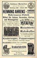 Henning Ahrens Hamburg Rödlingsmark 29 Rohrwaren Kinderwagen Koffer Reklame 1897