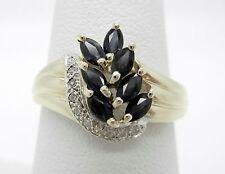 Genuine Blue Sapphire And Diamond Waterfall Ring~14K Yellow Gold~Size 7 1/2