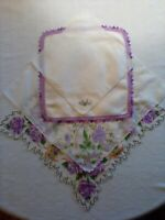 VINTAGE HANDKERCHIEFS LOT OF 4 COLORS OF LAVENDER WITH MULTI-COLORED  ACCENTS