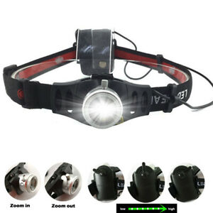 Zoomable Headlight LED Headlamp Powerful Torch Lamp Fishing Camping AAA Battery