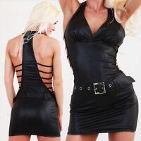 Sexy Mini Dress Seitlich offen Wetlook schwarz hot Club Party