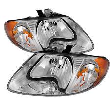 Dodge 01-07 Caravan Town & Country Chrome Housing Replacement Headlight Pair Set