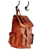 "Genuine Leather 16"" Rucksack Backpack Luggage Holdall Brown Vintage Travel Bag"