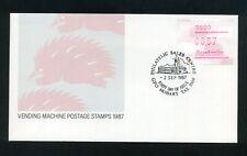 Australia 1987 Frama Vending macine stamp 37c Echidna Fdc Hobart Fdi Shs