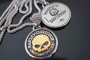 Harley Davidson Biker Anhänger Pendant Skull TM Halskette Kette Schmuck NEU Gold