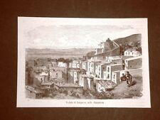Incisione Gustave Dorè del 1874 Veduta di Lanjaron Alpujarras Spagna Davillier