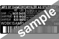 Mercedes Data Sticker Pillar VIN Tag Dash ID Door Jamb Decal Certification Label