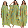 Ramadan Stripe Muslim Casual Women Bat Sleeve Long Maxi Dress Robe Abaya Jilbab