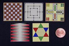 5 Spielbretter Spielplan Miniatur 1:12 Puppenstube Puppenhaus Setzkasten Spiele