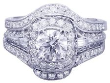 14k White Gold Round Cut Diamond Engagement Ring And Bands 2.50ctw G-SI1 EGL USA