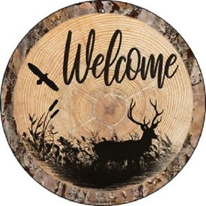 "WELCOME DEER 12"" ROUND LIGHTWEIGHT METAL SIGN WOOD LOOK"
