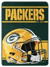 "Northwest NFL 46""x60"" Throw Blanket Football Microfleece Run - Green Bay Packers"