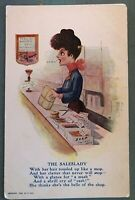 Antique Comic Postcard-The Saleslady~At Counter-Wants Cash-c405