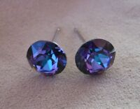 HYPOALLERGENIC Earrings Swarovski Elements Crystal in Heliotrope Color 8 mm