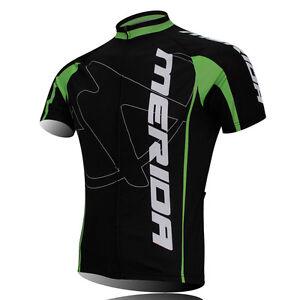 MERIDA Men's Green Cycling Jerseys Bike Clothing Short Sleeve Shirt Cycling Tops