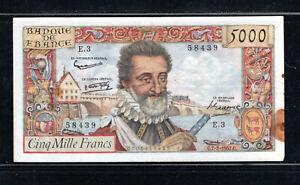 Billet 5000 Francs Henry IV 07/02/57 TTB Fay 49-01