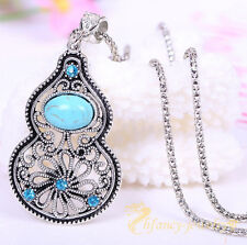 Natural Turquoise Tibet Silver Crystal Rhinestone Gourd Necklace Pendant Jewelry