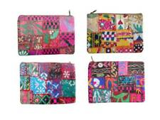 4 Pcs Lot Vintage Kantha Indian Hand Purse Embroidered Pouch Bag Multi Color