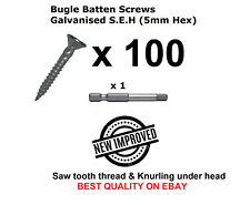 100 x Bugle Batten Screws 14 x 75mm Galvanised Type 17 for Timber Wood Decking
