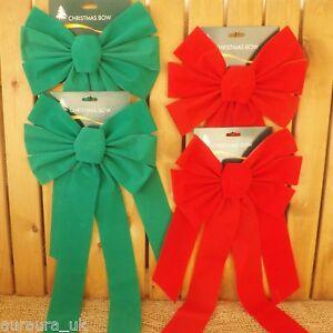Coppia Grande Albero di Natale O Decorazione Porta Tessuto Rosso Verde Fiocchi 2