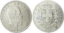 ITALIE  , VICTOR  EMMANUEL II  ,  5  LIRE  ARGENT  ,  1865  N  NAPLES , RARE
