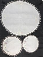 "Lot OF 3 Round FLORAL Doilies EMBROIDERED W/ CROCHETED EDGE WHITE 17"" 9"" &8 1/2"""