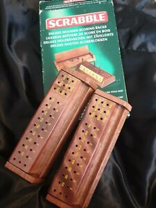 Boxed Official Scrabble Deluxe Wooden Solid Wood Scoring Racks Mattel 2004