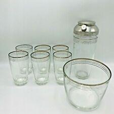 Silver Rimmed Mcm Barware Glasses Shaker Ice Bucket Holder