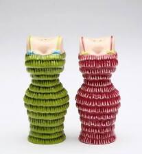 62402 Cocktail Cuties Salt Pepper Shakers Party Pink Green Jazz Flapper Dress