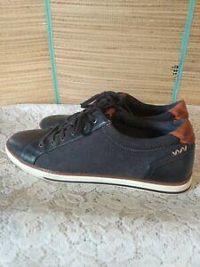 Aldo men's 10 navy blue sneakers canvas faux leather tennis shoes