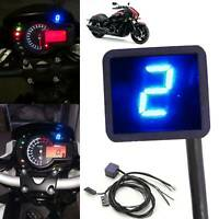 Universal LED Digital Gear Indicator Motorcycle Display Shift Lever Sensor Blue