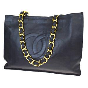 Authentic CHANEL CC Logo Chain Shoulder Tote Bag Leather Black Vintage 632R308